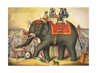 Circus Elephant and Riders--Giclee Print