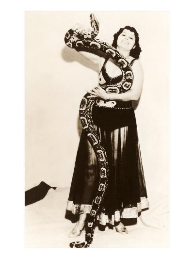 Circus Lady with Large Snake--Art Print