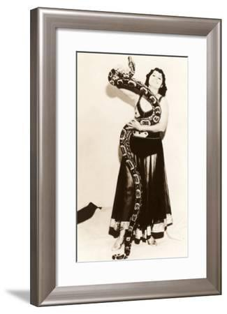 Circus Lady with Large Snake--Framed Art Print