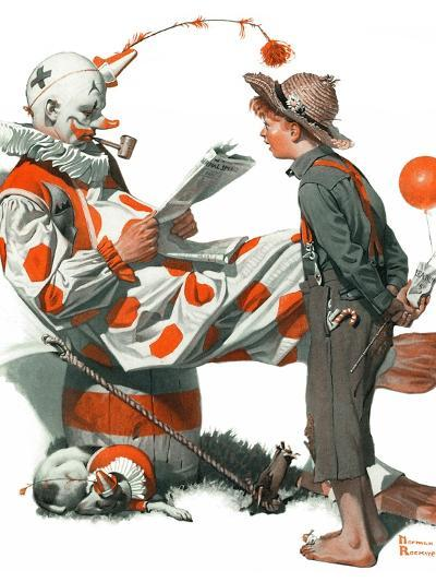 """""""Circus"""" or """"Meeting the Clown"""", May 18,1918-Norman Rockwell-Giclee Print"""
