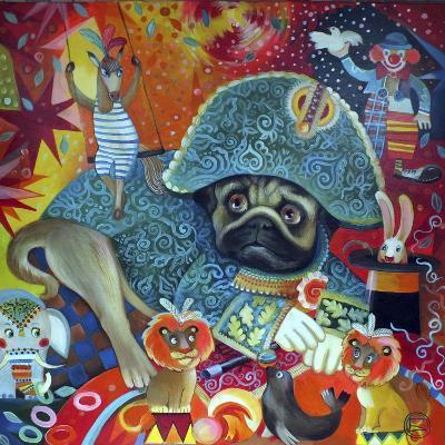 Circus Pug-Oxana Zaika-Giclee Print