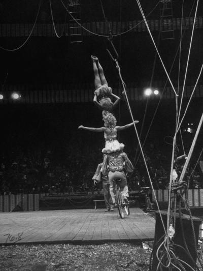 Circus Stacked Up Trio Casually Bicycling around the Board-Ralph Morse-Photographic Print