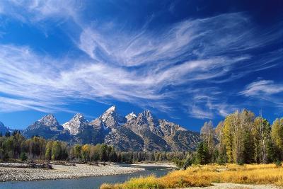 Cirrus Clouds over Teton Range and Snake River--Giant Art Print