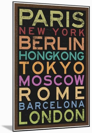 Cities of the World Colorful RetroMetro Travel Poster--Mounted Print