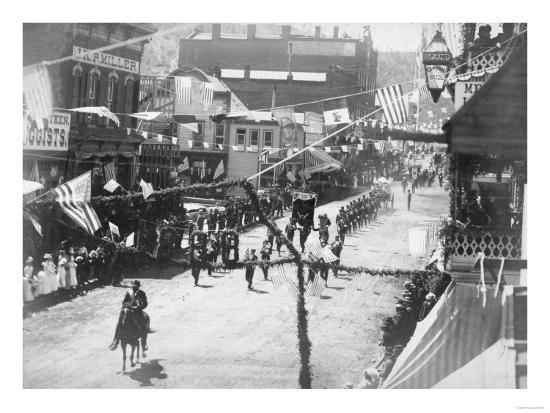 Citizens of Deadwood Celebrate Completion of Railroad No.2 Photograph - Deadwood, SD-Lantern Press-Art Print