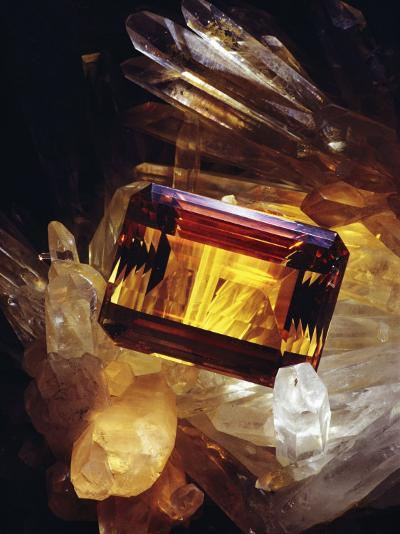 Citrine Resting on a Crystal-Victor R^ Boswell, Jr-Photographic Print