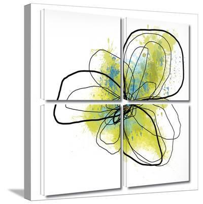 Citron Petals II 4 piece gallery-wrapped canvas-Jan Weiss-Gallery Wrapped Canvas Set