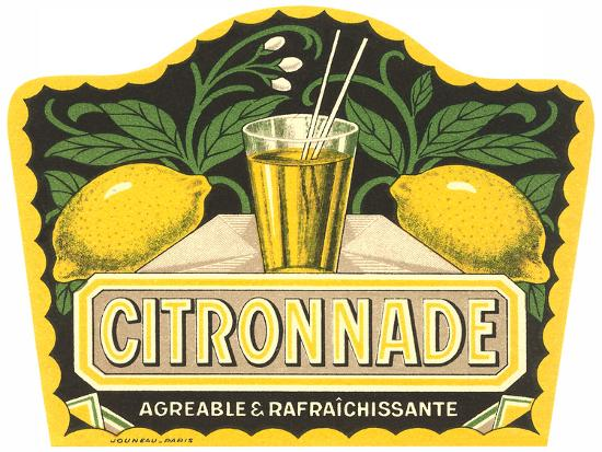 Citronnade Lemon Drink Label-Found Image Press-Art Print