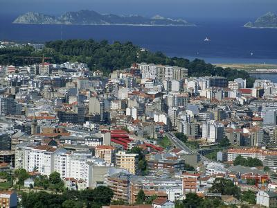City and the Ria De Vigo, Islas Cies in the Distance, Vigo, Galicia, Spain, Europe-Maxwell Duncan-Photographic Print