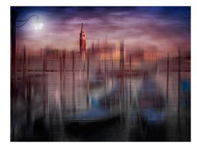 City Art Venice Gondolas At Sunset-Melanie Viola-Art Print