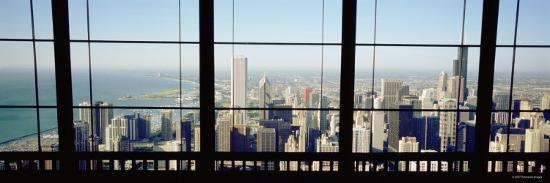 City as Seen through a Window, Chicago, Illinois, USA--Photographic Print