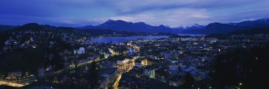 City at Dusk, Lucerne, Switzerland--Photographic Print