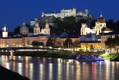 City at Night of Salzach River with Churches of Salzburg and Hohensalzburg Fortress, Austria-Julian Castle-Photo