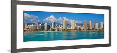 City at the waterfront, Waikiki, Honolulu, Oahu, Hawaii, USA--Framed Photographic Print