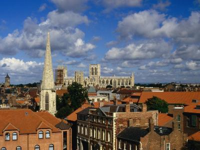 City Buildings with York Minster Cathedral in Background, York, United Kingdom-Johnson Dennis-Photographic Print