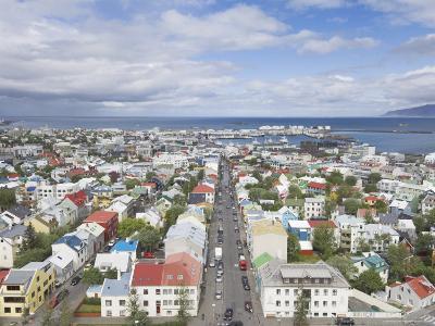 City Centre and Faxafloi Bay from Hallgrimskirkja, Reykjavik, Iceland, Polar Regions-Neale Clarke-Photographic Print
