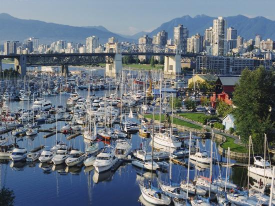 City Centre Seen Across Marina in Granville Basin, Vancouver, British Columbia, Canada-Anthony Waltham-Photographic Print