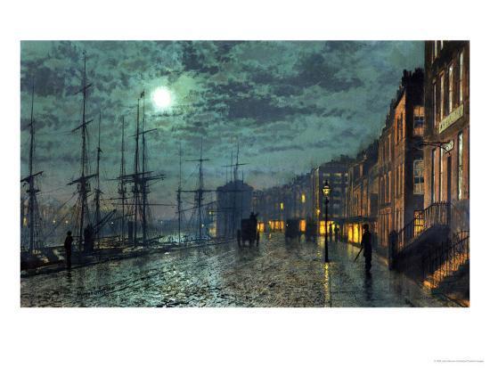 City Docks by Moonlight-John Atkinson Grimshaw-Premium Giclee Print