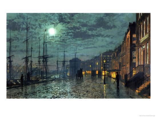 City Docks by Moonlight-John Atkinson Grimshaw-Giclee Print