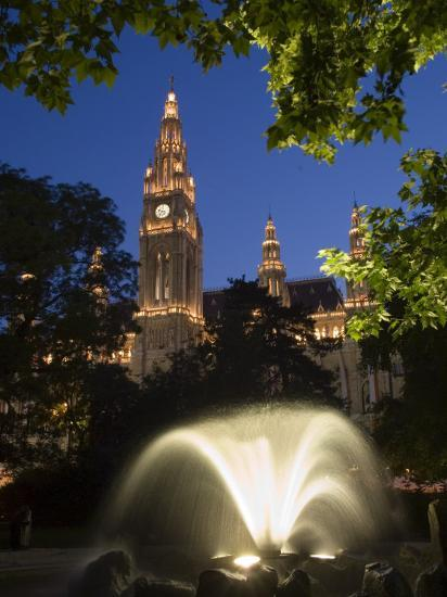 City Hall at Dusk with Fountain in Foreground, Vienna, Austria-Charles Bowman-Photographic Print