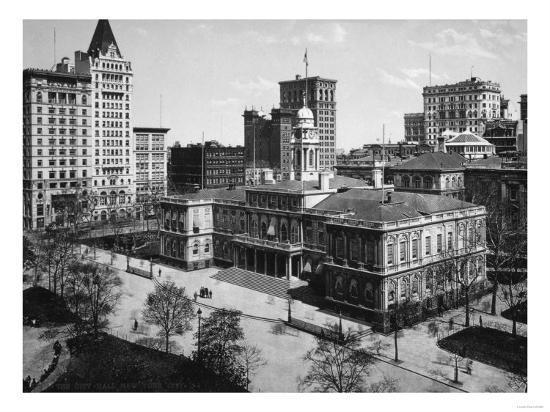 City Hall in New York City Photograph - New York, NY-Lantern Press-Art Print
