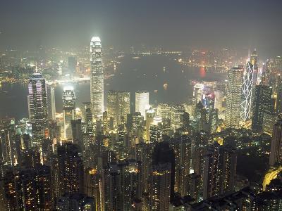 City Illuminated at Night, Hong Kong-Design Pics Inc-Photographic Print