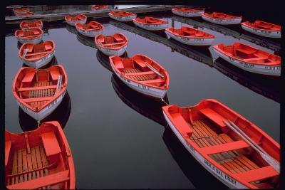 City Island Red Row Boats-Robert Goldwitz-Photographic Print