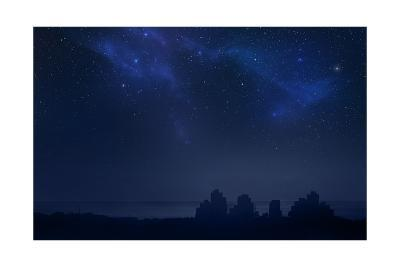 City Landscape at Night with Star Filled Sky, Nebula and Galaxy- pixel-Art Print