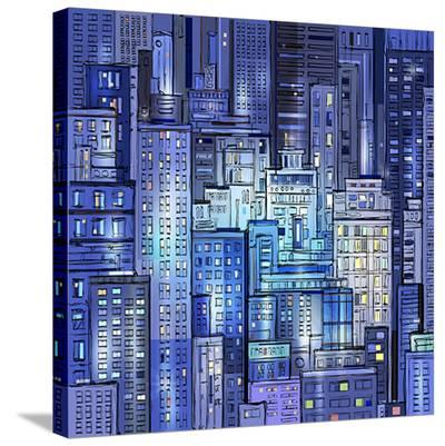 City Landscape At Night--Stretched Canvas Print