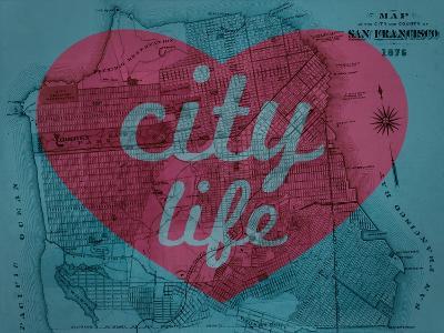 City Life - 1876, San Francisco 1876, California, United States Map--Giclee Print