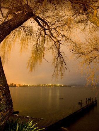 City Lights across Lake Rotorua, Rotorua, Bay of Plenty, North Island, New Zealand-David Wall-Photographic Print
