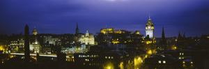 City Lit Up at Night, Edinburgh Castle, Edinburgh, Scotland