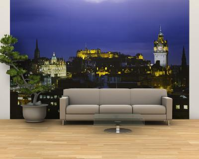 City Lit Up at Night, Edinburgh Castle, Edinburgh, Scotland--Wall Mural – Large