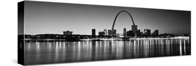City Lit Up at Night, Gateway Arch, Mississippi River, St. Louis, Missouri, USA