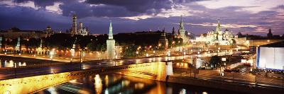 City Lit Up at Night, Red Square, Kremlin, Moscow, Russia--Photographic Print