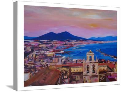 City Of Naples Italy With Mount Vesuvio And Gulf-M Bleichner-Stretched Canvas Print