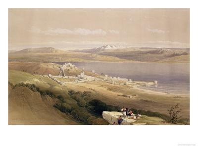 """City of Tiberias on the Sea of Galilee, April 22nd 1839, Plate 38 from Volume I of """"The Holy Land""""-David Roberts-Giclee Print"""
