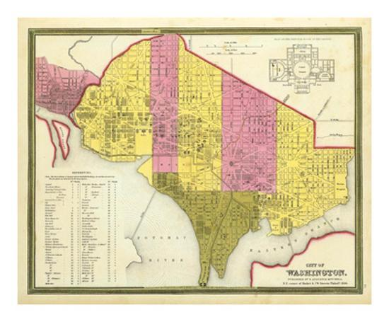 City Of Washington D C C 1846 Art Print By Samuel Augustus Mitchell Art Com