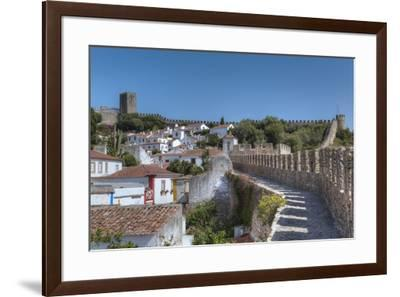 City overview with Wall and Medieval Castle in the background, Obidos, Portugal, Europe-Richard Maschmeyer-Framed Photographic Print