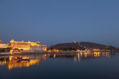City Palace in Udaipur at Night, Reflected in Lake Pichola, Udaipur, Rajasthan, India, Asia-Martin Child-Photographic Print