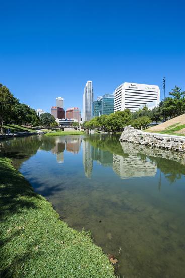City Park Lagoon with Downtown Omaha, Nebraska, Usa-Michael Runkel-Photographic Print
