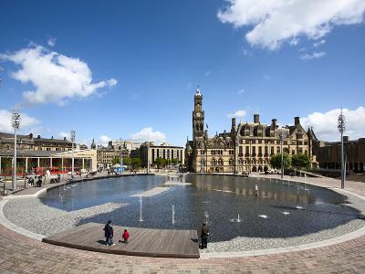 City Park Pool and City Hall, City of Bradford, West Yorkshire, England-Mark Sunderland-Photographic Print