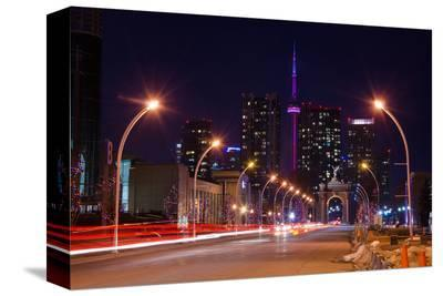 City Road Leading to CN Tower--Stretched Canvas Print
