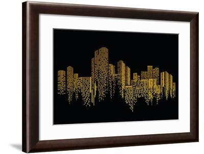 City Scene on Night Time- naKornCreate-Framed Art Print