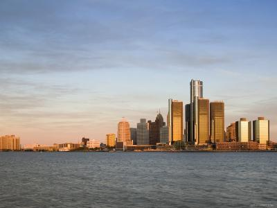 City Skyline Along Detroit River, Detroit, Michigan, USA-Walter Bibikow-Photographic Print