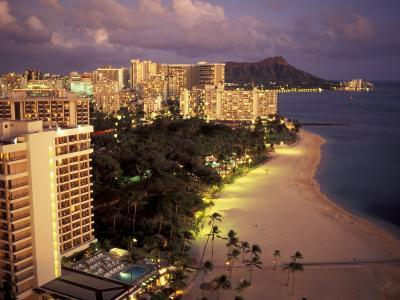 City Skyline and Beach, Honolulu, Oahu, Hawaii-Randa Bishop-Photographic Print