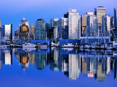 City Skyline and Coal Harbour, Dusk, Vancouver, Canada-David Tomlinson-Photographic Print