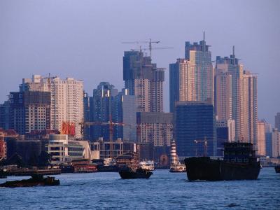 City Skyline and Construction, Shanghai, China-Phil Weymouth-Photographic Print
