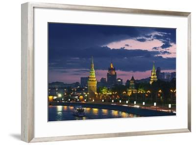 City Skyline and Kremlin at Dusk.-Jon Hicks-Framed Photographic Print