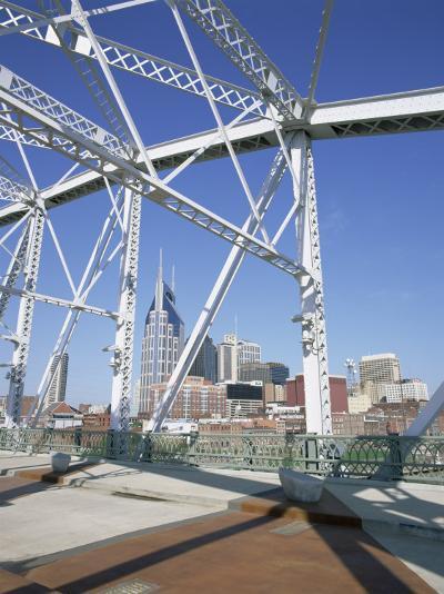 City Skyline and New Pedestrian Bridge, Nashville, Tennessee, United States of America-Gavin Hellier-Photographic Print